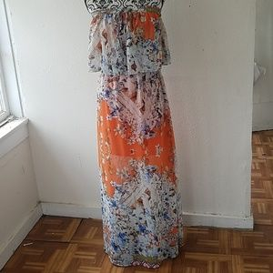 Strapless Floral Teired Maxi Dress